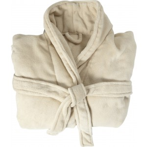 Fleece bathrobe with two sewed front pockets., beige (7775-357)