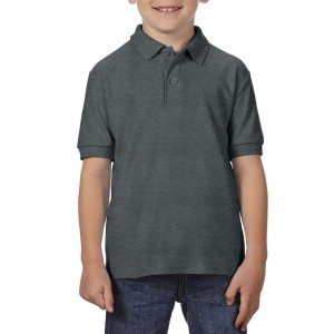 Gildan DryBlend Youth Double Pique polo, Dark Heather, XS (GIB72800DH)