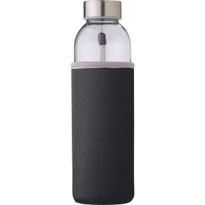 Glass bottle (500 ml) with neoprene sleeve, black (9301-01)
