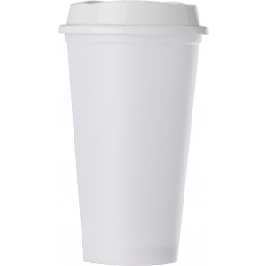 PP mug with lid, white (7681-02)