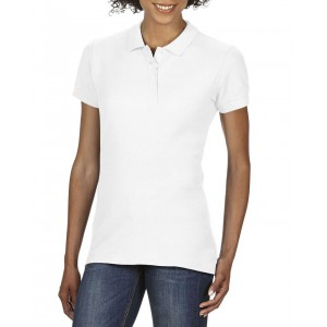 SOFTSTYLE<sup>®</sup> LADIES' DOUBLE PIQUÉ POLO, White (GIL64800WH)