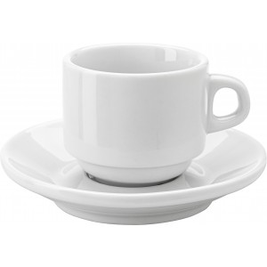 Stackable porcelain cup and saucer (100ml), white (3463-02)